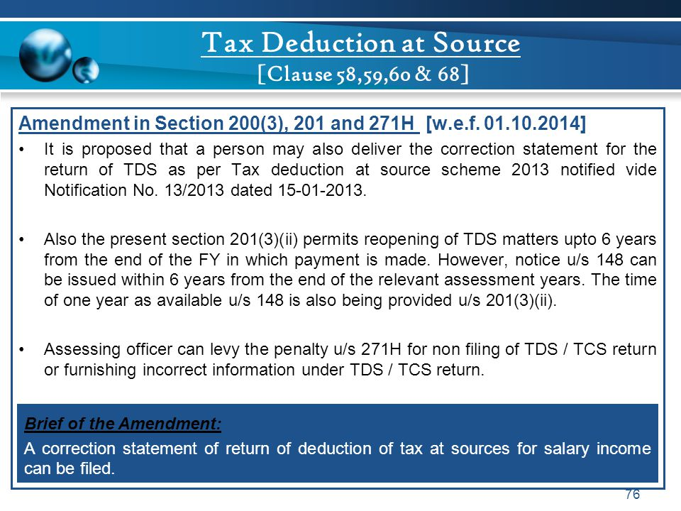 Tax Deduction at Source [Clause 58,59,60 & 68]